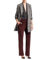Brunello Cucinelli - Gray Women's Plaid Wool Coat - Charcoal - Size 44 (8) - Lyst