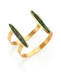 Stephanie Kantis - Duo Green Moss Agate Cuff Bracelet - Lyst