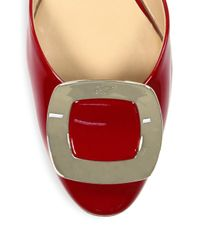 Roger Vivier - Red Patent Leather D'orsay Flats - Lyst