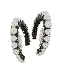 Erickson Beamon - Black Solidarity Faux-pearl Hoop Earrings - Lyst
