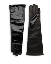 Agnelle - Black Glamour Leather Opera-length Gloves - Lyst
