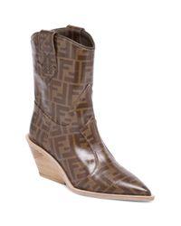 Fendi - Women's Heeled Logo Leather Cowboy Boots - Brown - Size 36.5 (6.5) - Lyst