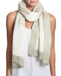 Bajra - White Frame Silk & Cashmere Scarf - Lyst