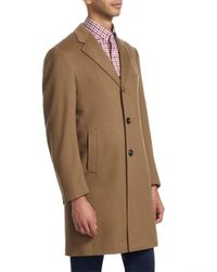 Isaia - Brown Ross Notch Lapel Wool Topcoat for Men - Lyst