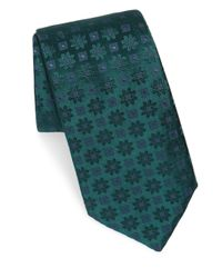 Charvet - Green Edelweiss Pattern Silk Tie for Men - Lyst