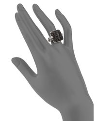 John Hardy | Black 'classic Chain' Rectangular Ring | Lyst