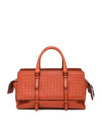 Bottega Veneta - Orange Belted Basket-weave Leather Satchel - Lyst