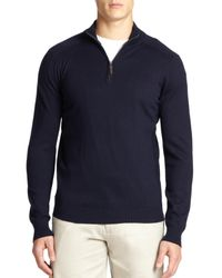 Saks Fifth Avenue - Blue Silk-blend Quarter-zip Sweater for Men - Lyst