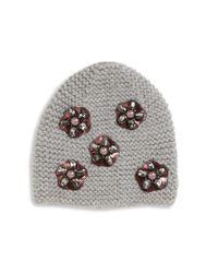 Jennifer Behr | Gray Mod Flower-embroidered Wool Beanie | Lyst