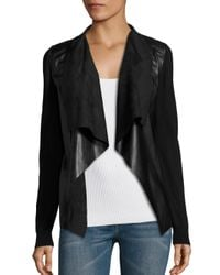 MICHAEL Michael Kors Black Leather Drape Front Cardigan