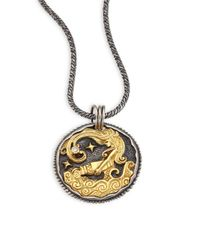 Konstantino - Metallic Zodiac 18k Gold, Sterling Silver & Diamond Aquarius Pendant - Lyst