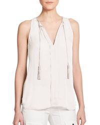 Joie - White Airlan Silk Sleeveless Top - Lyst