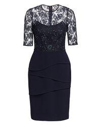 Teri Jon - Blue Lace Bodicethree Quarter Sleeve Sheath Dress - Lyst