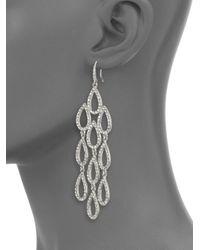 ABS By Allen Schwartz - Metallic Pave Chandelier Earrings - Lyst
