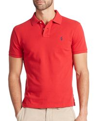 Polo Ralph Lauren - Red Custom-fit Mesh Polo for Men - Lyst