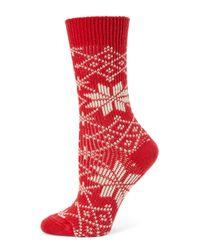 Ilux - Red Lumi Snowflake Socks - Lyst