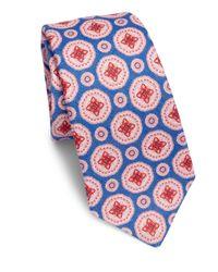 Kiton - Blue Large Medallion Linen Tie for Men - Lyst