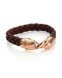 John Hardy - Brown Classic Chain Woven Leather & Bronze Eagle Bracelet for Men - Lyst