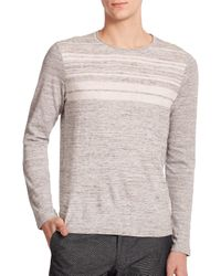 Vince - Gray Striped Sweater for Men - Lyst