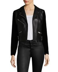 VEDA - Black Puzzle Velvet And Leather Jacket - Lyst