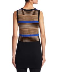 Akris Punto - Black Striped Wool Shell - Lyst