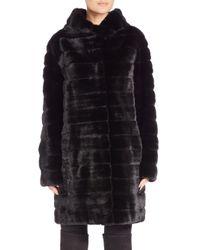 Saks Fifth Avenue - Black Hooded Mink Fur Coat - Lyst