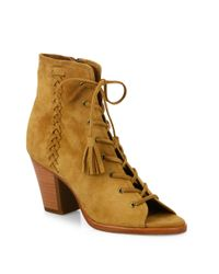 Frye - Natural Dani Whipstitch Suede Lace-up Booties - Lyst