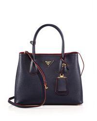 Prada - Blue Saffiano Cuir Small Double Bag - Lyst