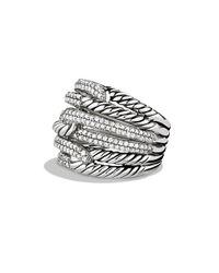 David Yurman - Metallic Labyrinth Triple-loop Ring With Diamonds - Lyst