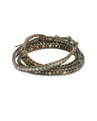 Chan Luu | Metallic Abalone, Labradorite, Crystal & Leather Beaded Wrap Bracelet | Lyst