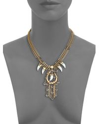 House of Lavande - Metallic Nihiwatu Mother-of-pearl & Crystal Fish Spine Bib Necklace - Lyst