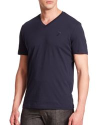 Versace | Blue Cotton V-neck Tee for Men | Lyst