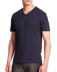 Versace - Blue Men's Cotton V-neck Tee - Dark Navy for Men - Lyst