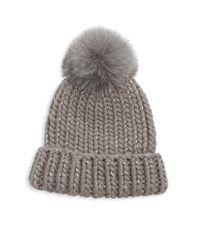 Eugenia Kim - Gray Rain Fox Fur Pom Hat - Lyst