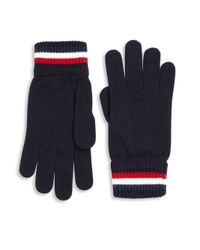 bbdefb4698e0 Lyst - Moncler Striped Virgin Wool Gloves in Blue