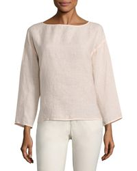 Eileen Fisher | Multicolor Organic Linen Box Top | Lyst