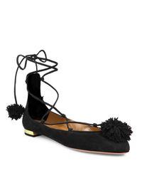 Aquazzura - Black Sunshine Suede Lace-up Ballet Flats - Lyst