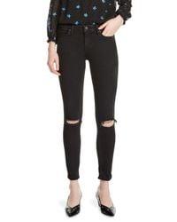 Maje - Black Priska Embroidered Distressed Skinny Jeans - Lyst
