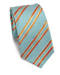 Kiton - Blue Striped Silk Tie for Men - Lyst