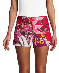Trina Turk - Red Found In Translation Corbin Floral-print Shorts - Lyst