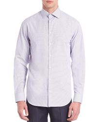 Armani - Blue Modern-fit Checked Cotton Dress Shirt for Men - Lyst