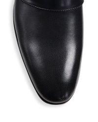 Ferragamo | Black Fiesse Leather Loafers for Men | Lyst
