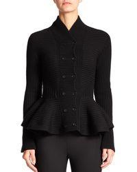 Alexander McQueen - Black Knit Peplum Jacket - Lyst