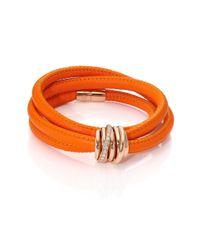 De Grisogono - Pink Allegra Diamond, 18k Rose Gold & Leather Wrap Bracelet/orange - Lyst