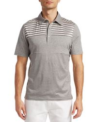 Saks Fifth Avenue - Gray Collection Pieced Stripe Polo for Men - Lyst