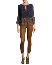 Joie | Brown Darnella Leather Cropped Leggings | Lyst