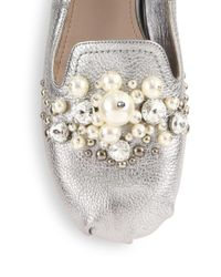Miu Miu - Jeweled Metallic Leather Loafers - Lyst