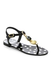 Dolce & Gabbana - Blue Seashell Jelly Thong Sandals - Lyst