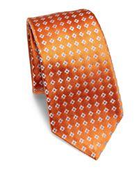 Kiton - Orange Contrast Floral Print Silk Tie for Men - Lyst