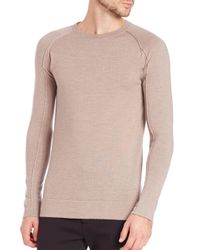 Helmut Lang - Natural Wool Crewneck Sweater for Men - Lyst